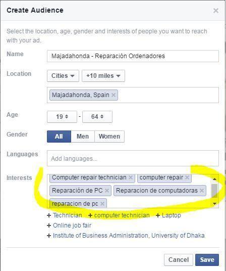 Definir audiencia post Facebook